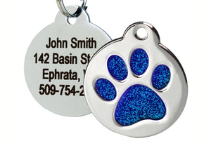 GoTags Pet Tag with Blue Glitter in Paw Print Shape, Stainless Steel Dog Tag Personalized with 4 lines of Engraved ID