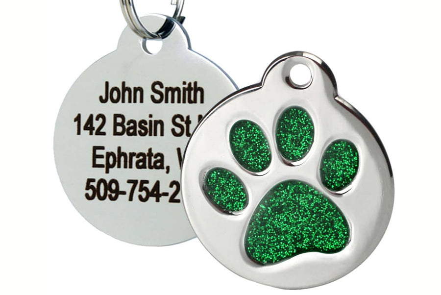 GoTags Stainless Steel Pet Tag with Green Glitter Filled Paw Print Shape, Personalized and Engraved with 4 lines of Custom ID