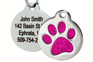 GoTags Stainless Steel Pet Tag with Pink Glitter Paw Print, Personalized with 4 Lines of Engraved Text