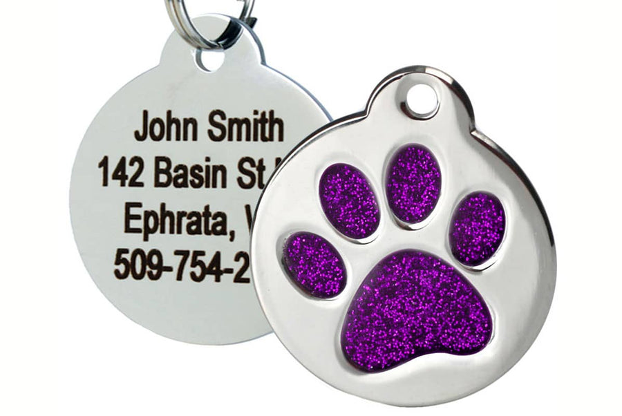 GoTags Pet Tag with Purple Glitter in Paw Print Shape, Stainless Steel Dog Tag Personalized with 4 lines of ID