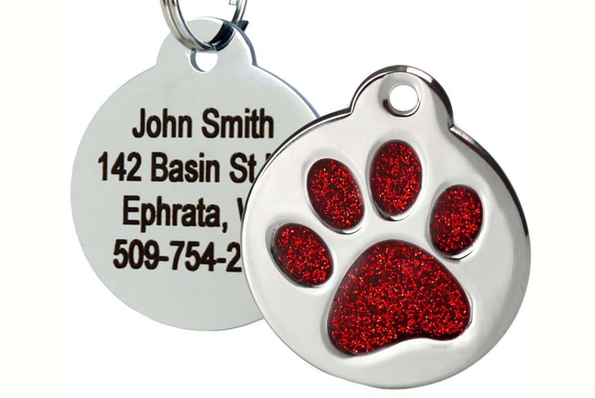 GoTags Stainless Steel Pet Tag with Red Glitter Paw Print
