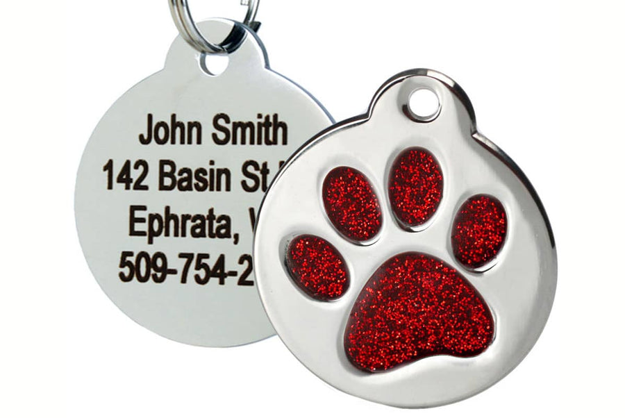 GoTags Dog Tag with Red Glitter in Paw Print Shape, Stainless Steel Pet Tag Personalized with 4 Lines of Engraved ID
