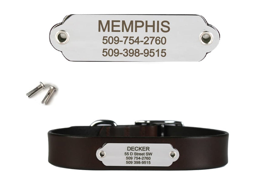 GoTags Stainless Steel Rivet on Dog Collar Nameplate ID Tag with Name and Phone