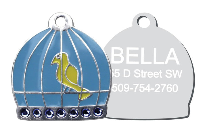 GoTags Unique Cat ID Tag with Crystals in Shape of Bird Cage