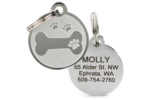 GoTags Unique Bone and Paw Print Dog ID Tag made of Stainless Steel