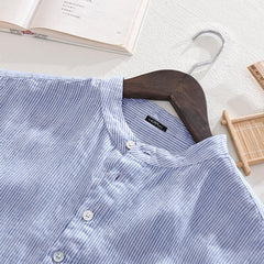 Mens Summer Casual Comfy Cotton Plus Size Henley Collar Striped Shirts - Slabiti