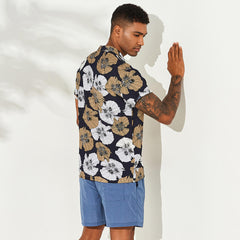 ChArmkpR Men Floral Printed Hawaiian Vacation Shirts - Slabiti