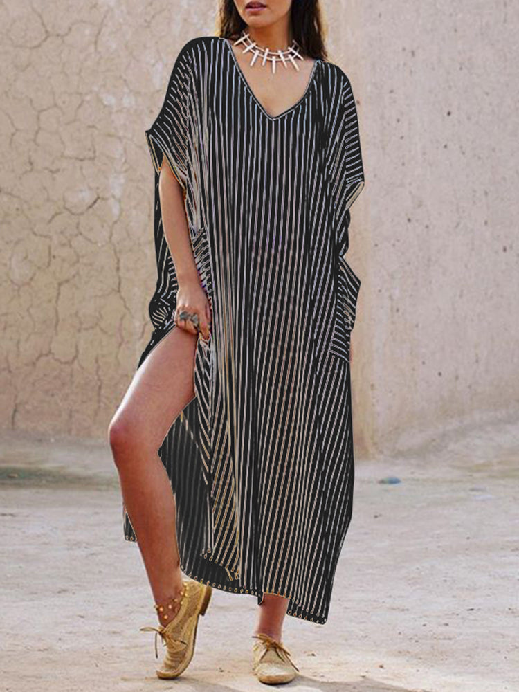 Women Stripe Bat Sleeve Split Hem Side Pockets Dress - Slabiti