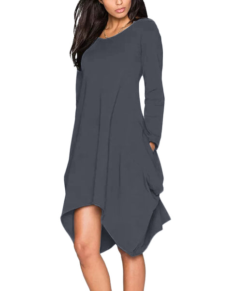 Women Long Sleeve Stretch Loose Swing Short Dress