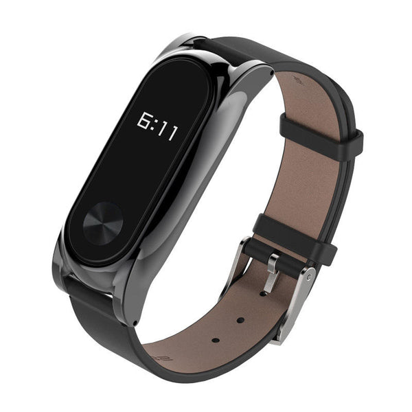 Mijobs Leather Bracelet Replacement for Xiaomi MiBand 2 Wrist Strap Smartband - Slabiti