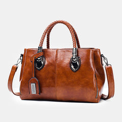 Women Vintage Oil Wax Large Capacity Handbag Crossbody Bag - Slabiti