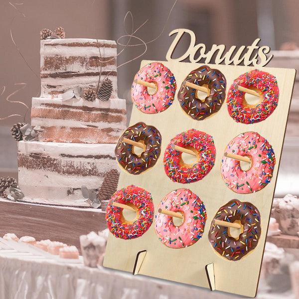 DIY Donut Wall Hold Candy Sweet Stand Wooden Table Holder Wedding Decorations - Slabiti