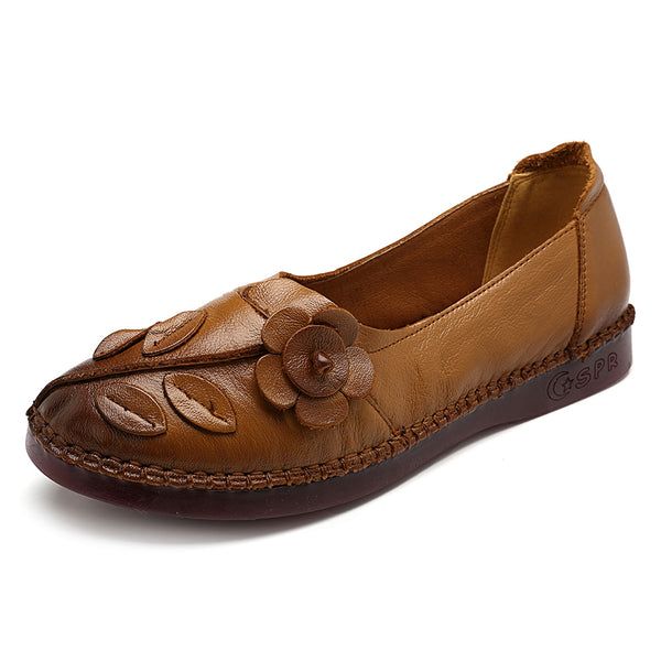 Women Shoes Genuine Leather Comfortable Causal Soft Flats - Slabiti