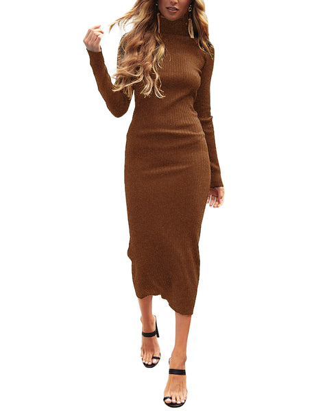 Turtleneck Bodycon Long Sleeve Knit Solid Sweater Dress