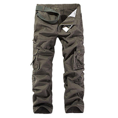 Mens Solid Color Multi-Pockets 100%Cotton Casual Cargo Pants Outdoor Straight Trousers - Slabiti