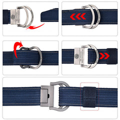 125CM Mens Double Ring Alloy Buckle Belt Outdoor Canvas Military Tactical Jeans Strip - Slabiti
