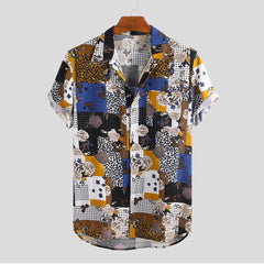Mens Summer Ethnic Pattern Rose Printed Turn Down Collar Casual Shirts - Slabiti