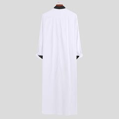 Men Black White Stitching Color Long Sleeve Kaftan Shirts - Slabiti
