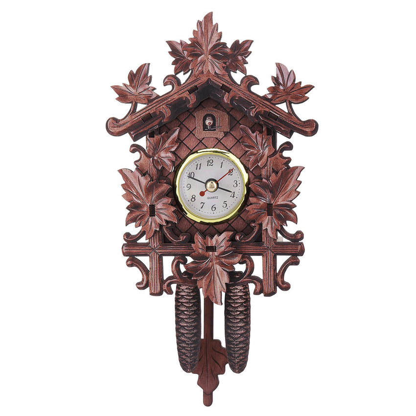 Maple Leaf Black Forest Home Cafe Art Chic Swing Vintage Cuckoo Wall Clock - Slabiti