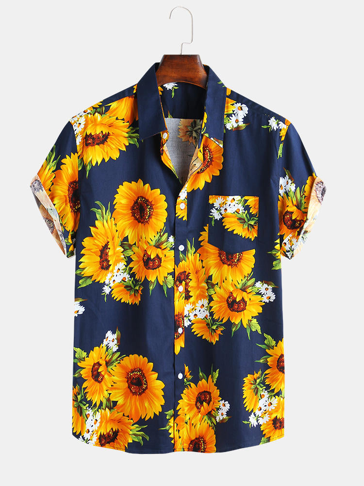 Mens Sunflower Printed 100% Cotton Fit Loose Causal Shirts - Slabiti