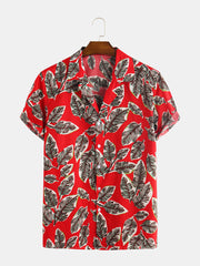 Summer Mens 100% Cotton Leaves Printing Short Sleeve Casual Shirts - Slabiti
