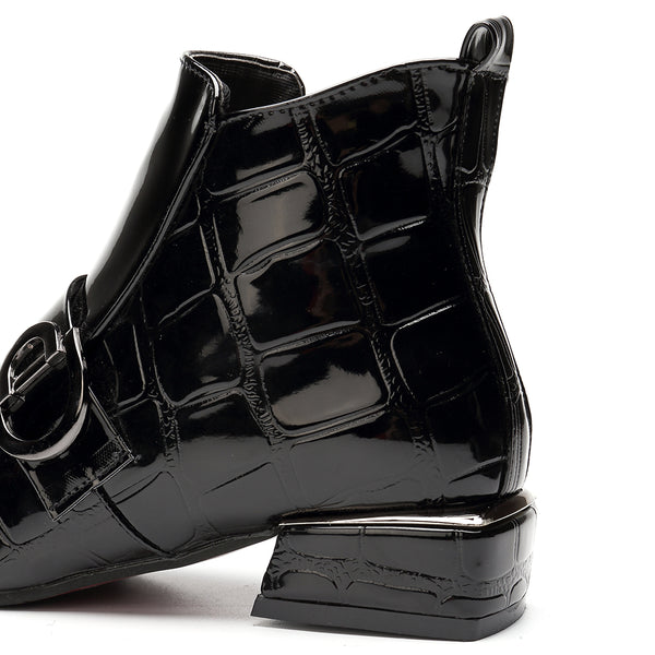 Women Chic Embossed Patent Buckle Zipper Ankle Boots