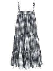 Straps Sleeveless Plaid Swing Hem Women Casual Dress