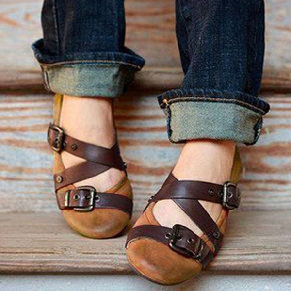 Large Size Round Toe Buckle Slip On Casual Flat Shoes