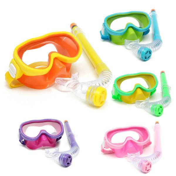 Children Professional Silicone Diving Goggles Set Glasses Mask Swimming Diving Snorkel Breathing Tub - Slabiti