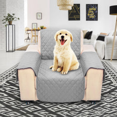 Light Gray Pet Sofa Couch Protective Cover Removable W/Strap Waterproof 1 Seater Sofa Cover - Slabiti
