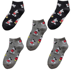 10 pieces = 5 pairs of new cute Korean version of the cartoon women's cotton socks fashion casual Mickey Mouse happy socks - Slabiti