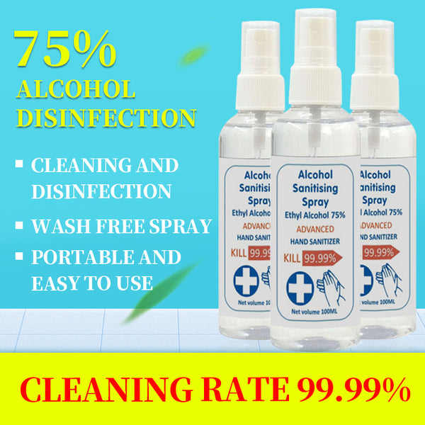 100ml 75% Alcohol Spray Portable Disinfection Rine-free Hand Sanitizer Disposable Prevention Hand Sanitizer - Slabiti
