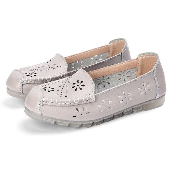 Women Leather Hollow Out Slip On Casual Flats - Slabiti