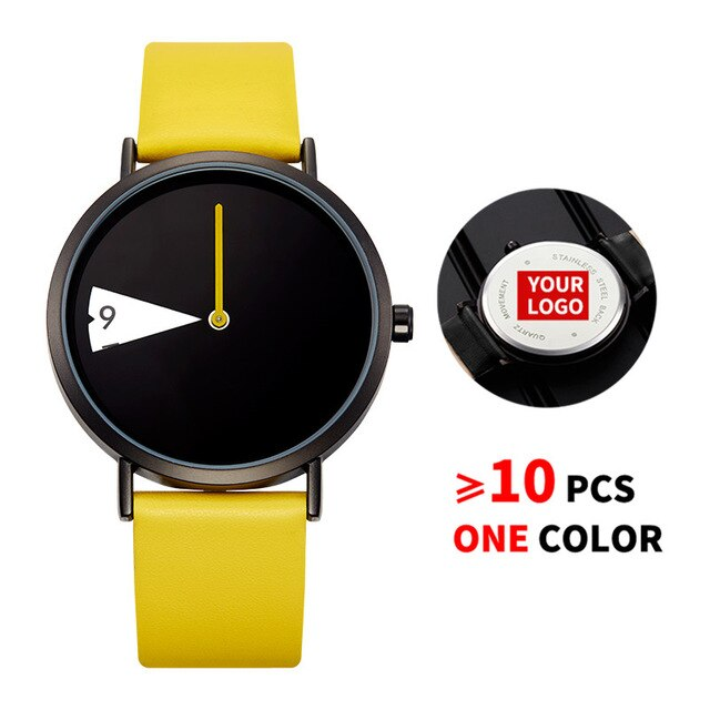 10PCS/Lot SINOBI 0090 Free Customized LOGO Watch Women Watch Creative Rotate Wristwatch Lady Clock Yellow Leather Custom Watches - Slabiti