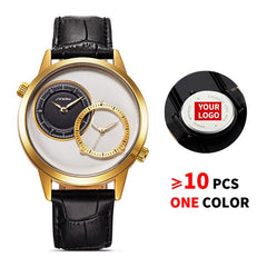 10PCS/Lot SINOBI 9625 Free Customized LOGO Men Creative Double Quartz Movement Clock Analog Leather Strap Custom Watches Gifts - Slabiti