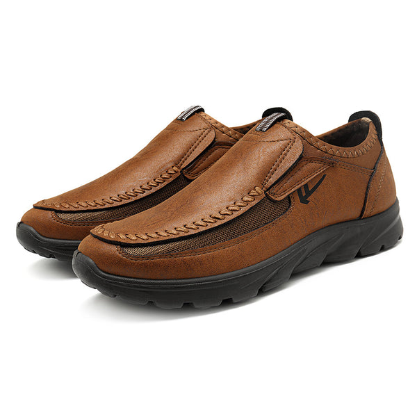 Menico Men Casual Comfy Soft Moc Toe Slip On Leather Oxfords - Slabiti