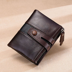 Men Multi-Color Genuine Leather Double Zipper Coin Bag Wallet Card Holder - Slabiti