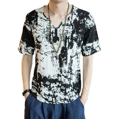 INCERUN Mens V Neck Ink Printing Chinese Style Casual Cotton Short Sleeve Tops Tees - Slabiti