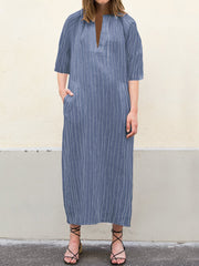 Women Casual V Neck Striped 3/4 Sleeve Maxi Dress
