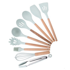 12PCS Silicone Kitchen Tools Cooking Sets Turner Soup Spoon Spatula Brush Non-stick Shovel With Wooden Handle Cooking Tools - Slabiti
