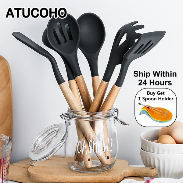 12PCS Silicone Kitchen Tools Cooking Sets Turner Soup Spoon Spatula Brush Non-stick Shovel With Wooden Handle Cooking Tools