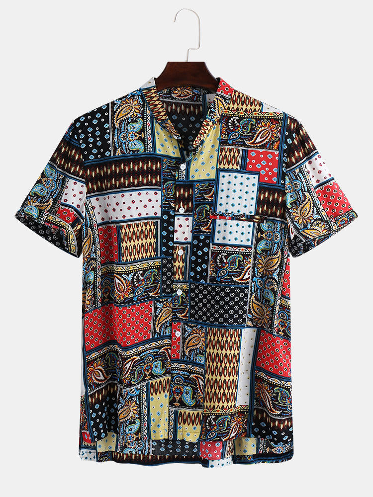 Mens Vintage Stylish Pattern Summer Loose Trendy Printing Shirts - Slabiti