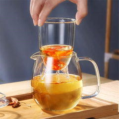 600ML Heat Resistant Clear Glass Coffee Tea Pot Leaf With Strainer Filter Infuser - Slabiti