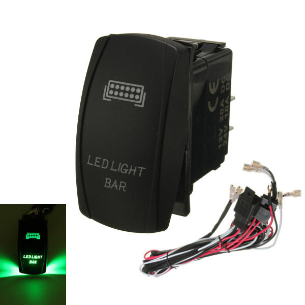 GREEN LED LIGHT BAR ON/OFF LASER ROCKER SWITCH & RELAY FUSE WIRING HARNESS LOOM - Slabiti