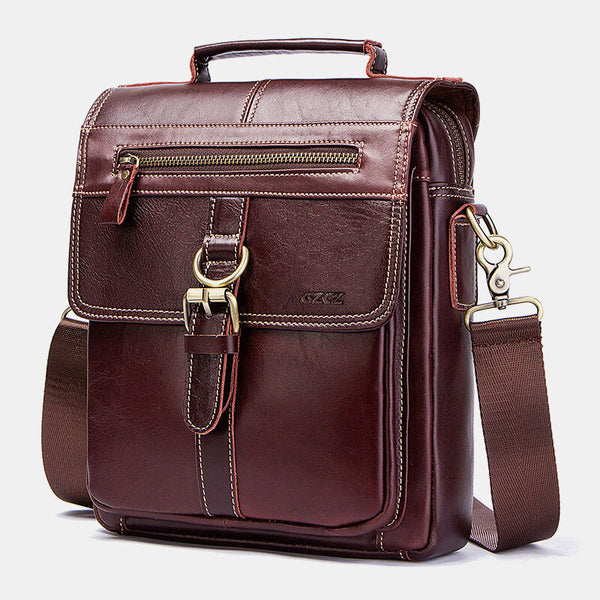 Men Genuine Leather Handbag Shoulder Bag Crossbody Bag Business Bag - Slabiti