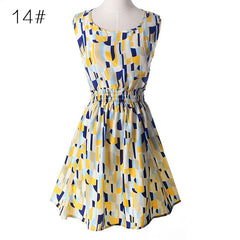 USA SIZE Summer large size vest dress Printed skirt Sleeveless floral chiffon dress - Slabiti