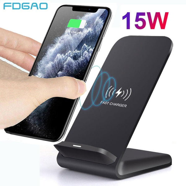 15W Qi Wireless Charger Stand For iPhone SE2 X XS MAX XR 11 Pro 8 Samsung S20 S10 S9 Fast Charging Dock Station Phone Charger - Slabiti