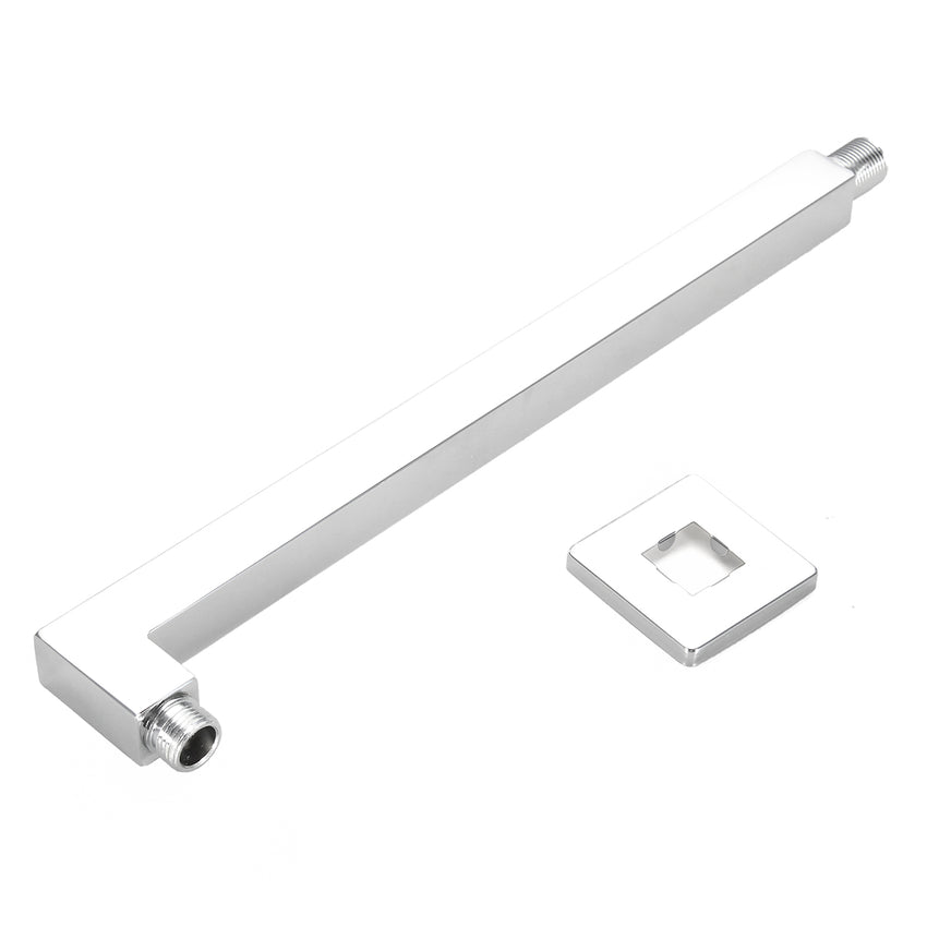 40cm Square Rail Shower Head Extension Arm Chrome Wall Mount with Flange - Slabiti
