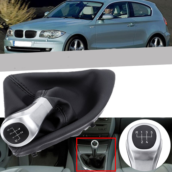Leather Shifter Gear Shift Knob with Boot Cover 5 Speed Handle For BMW E87 120i 120d 135i - Slabiti