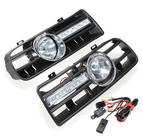 Car Front Bumper Grille Fog Lights DRL Driving Lamp with Switch and Harness for VW Golf MK4 1997-2006 - Slabiti